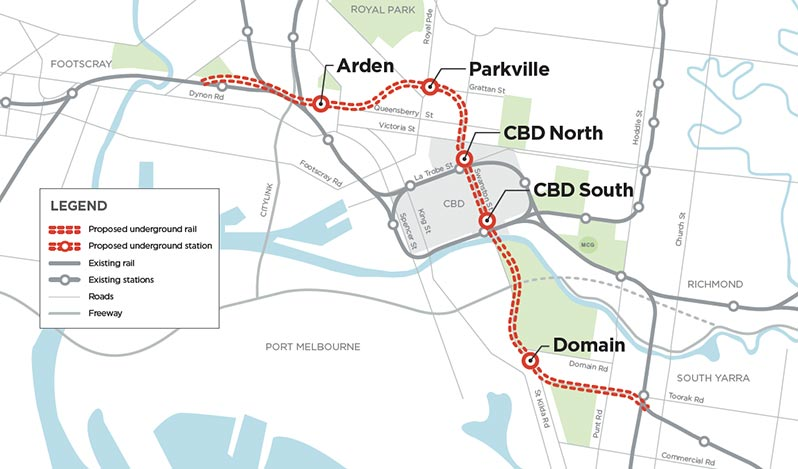9km Melbourne Metro Rail Project tunnel alignment
