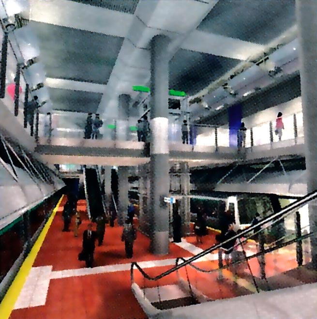 Artist's impression of the cut-and-cover William Street Station in the heart of the CBD
