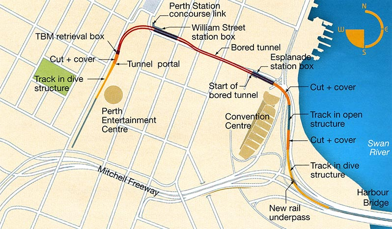 Fig 1. Plan of the underground CBD route of the Perth Rail Line