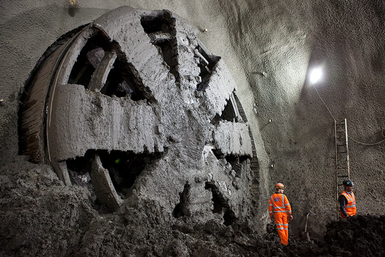 TBM breaks into Stepney Green SCL cavern
