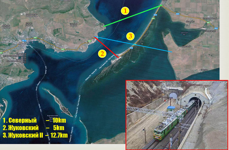 "Fig 3. Three leading tunnel options for crossing the Kerch Strait"" style=""width:398px;height:260px;"