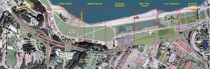 Main structures of the Presidio Parkway project' style=