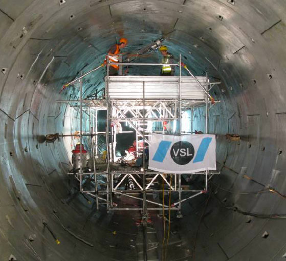 Working platform inside Thun Tunnel
