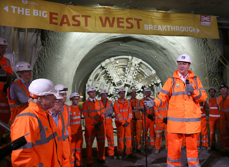 Crossrail delays after then UK Prime Minister David Cameron (centre), and then London Mayor Boris Johnson (left foreground), celebrated final TBM breakthrough in May 2015