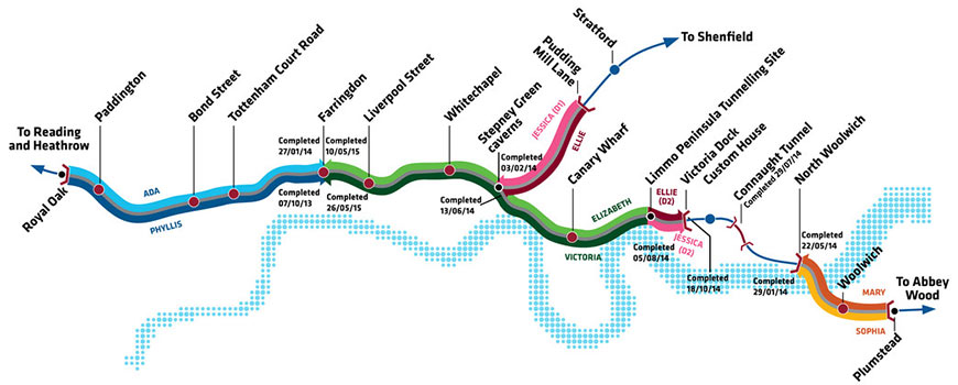Final Crossrail TBM progress map and station locations