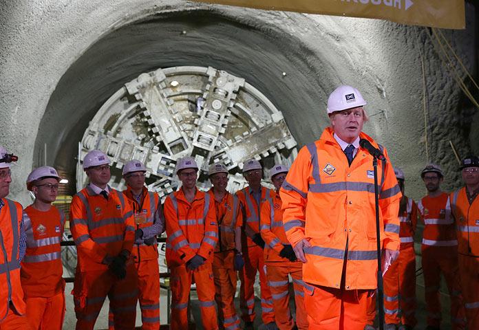 London Mayor Boris Johnson uses the celebrations to urge progress on Crossrail 2