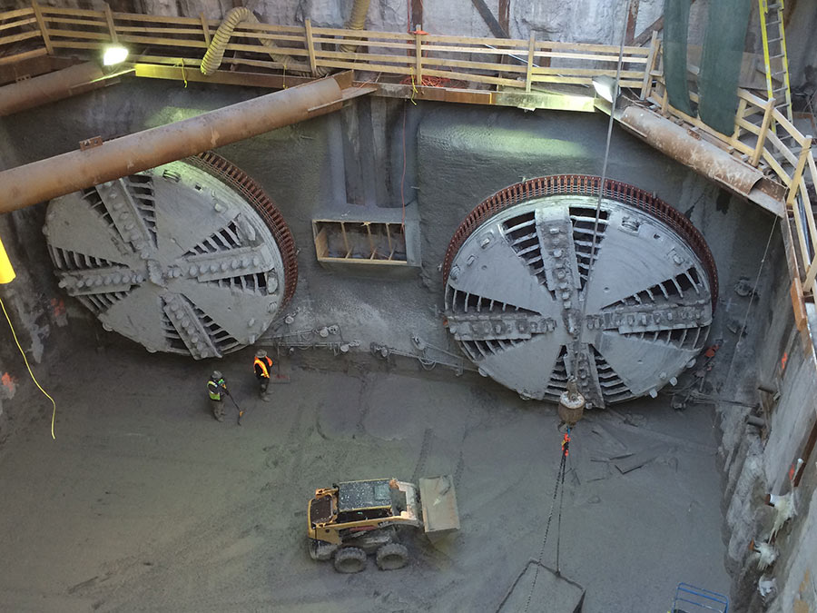 West Tunnel TBMs broke through into Allen Road shaft in Jan 2015