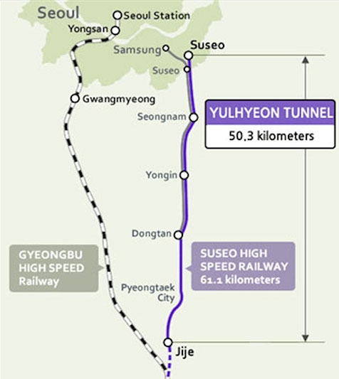 Plan of the 50.3km long rail tunnel