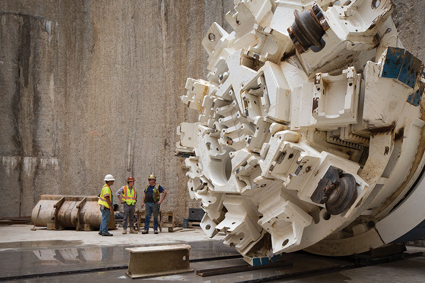 "4m Main Beam Robbins TBM in the launch shaft"" style=""width:450px;"