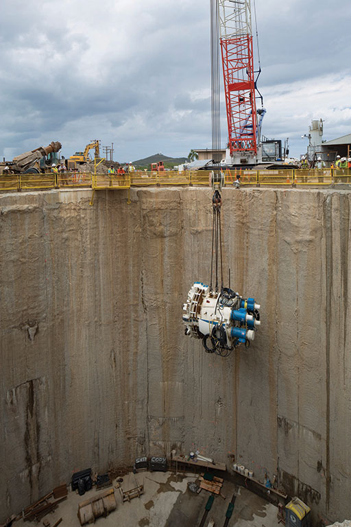 Lowering the Robbins TBM drive unit