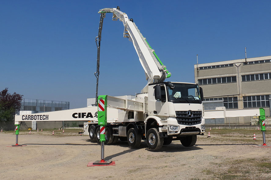 Chassis mounted with CIFA Carbotech K60H concrete pump and boom