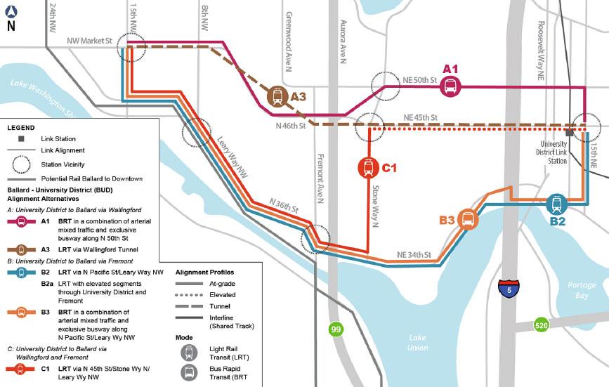 Fig 1. Tunnel option (brown) preferred on Ballard to U-District corridor