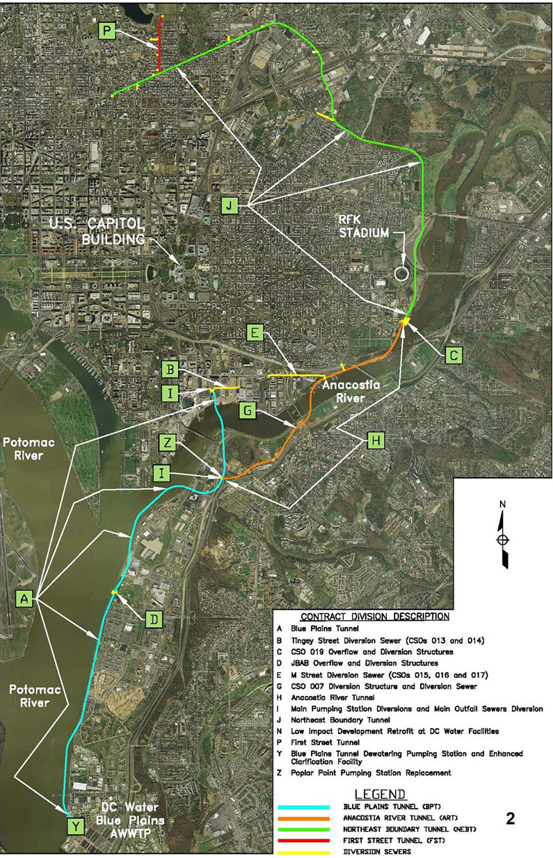 Fig 1. Alignment of the NEBT connecting the First Street Tunnel to the Anacostia River Tunnel