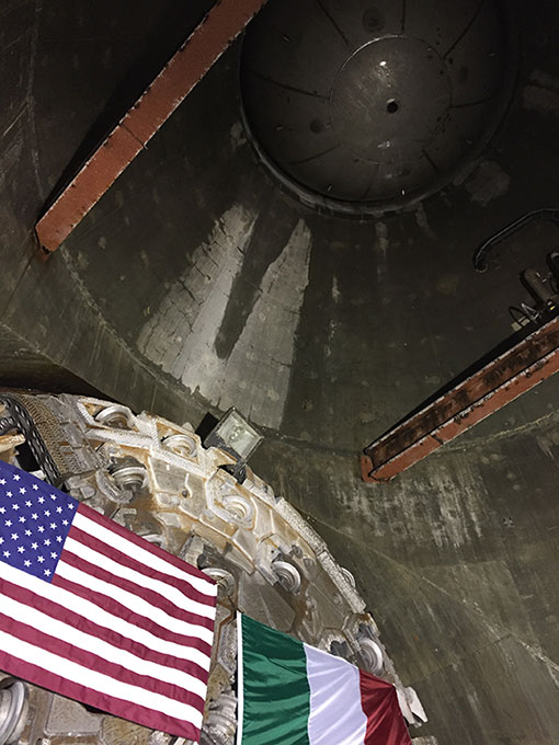 TBM breakthrough into precast concrete intake structure – the circular plug at the top is holding back Lake Mead above