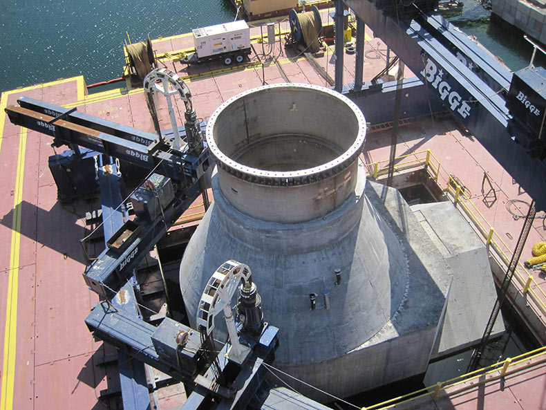 Concrete intake structure being lowered into Lake Mead