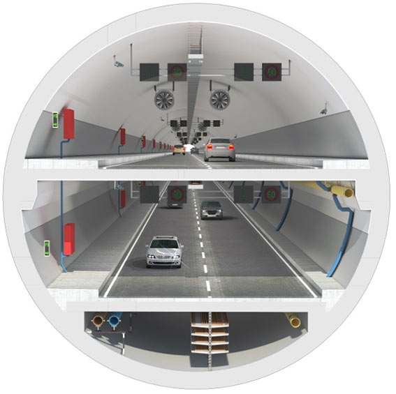 Fig 3. Section of the double-deck highway tunnel' style=