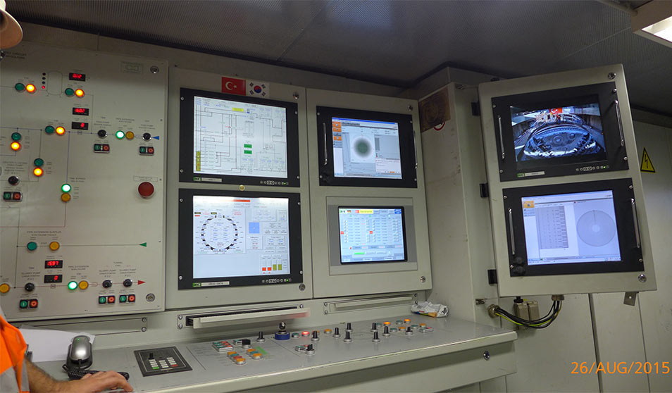TBM operators' cabin with screen of DCRM system bottom right