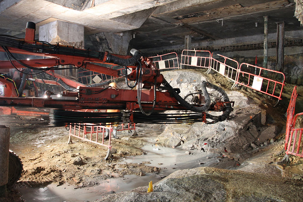 Drilling in hard coarse grained granite under West Kowloon Station