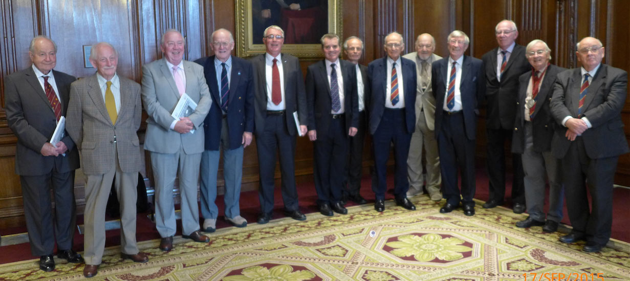 James Clark Medal recipients (and year of award) at the 2015 celebration luncheon (from left): John Bartlett OBE (1994), Denis Lawrenson (2000), Hugh Doherty (1996), Alastair Biggart OBE (1991), Dave Court (2012), Alan Dyke (2006), Andy Sindall (2013), Oliver Bevan (1992), Colin Mackenzie (1999), Maurice Gooderham (2005), Roger Remmington (1993), Rodney Craig (2004), and Myles O