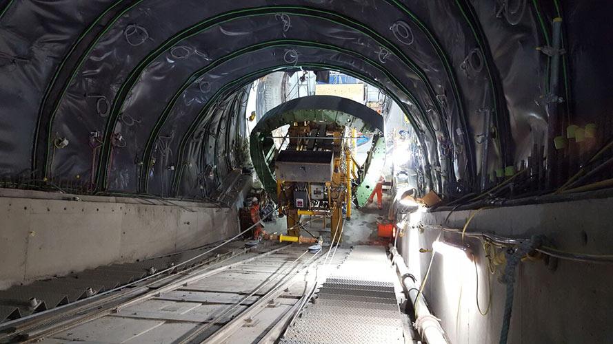 Shutter installed for 30% incline escalator