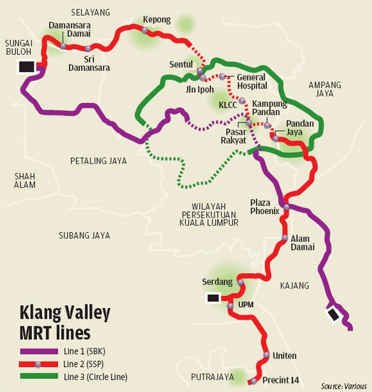 Scope of the Klang Valley MRT (Line 3 highlighted in green)