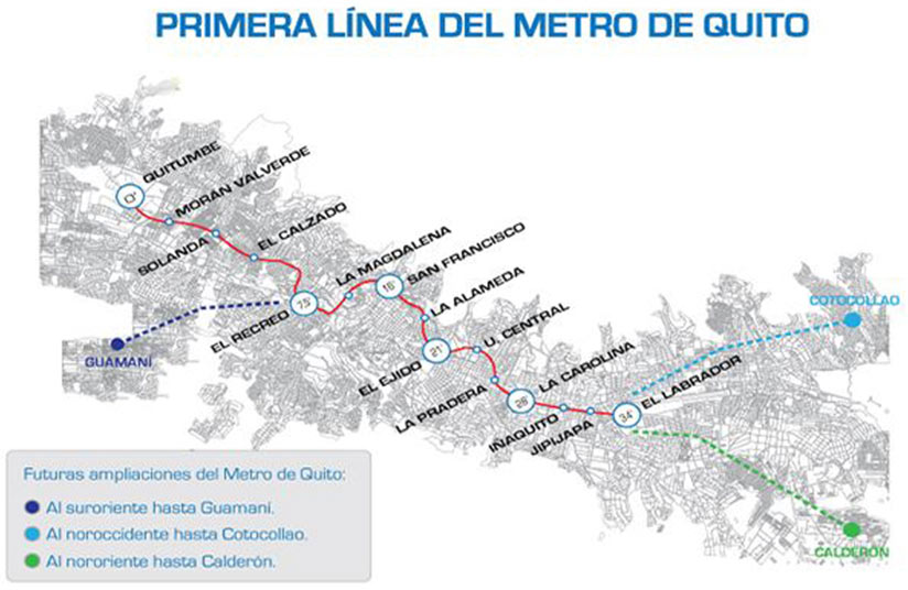 13 stations of 22km all-underground Quito Metro Line 1