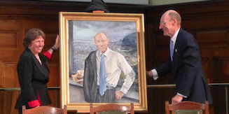 Artist presents Sir John with his portrait