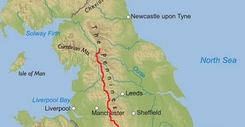 Fig 1. The Pennines form a natural transportation barrier between Manchester and Sheffield