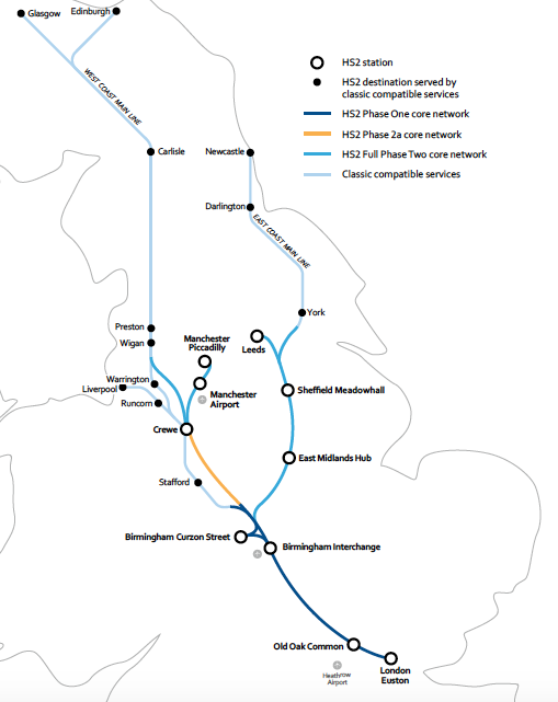 HS2 links into the UK north of London