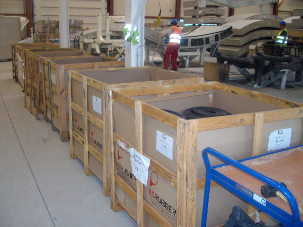 Crates of ES Rubber gaskets awaiting use at the Koralm Tunnel casting plant