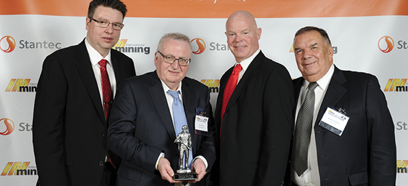 Tom Melbye (second from left) is inducted into the Hall of Fame in the category of Underground Support at an Awards ceremony in Feb 2015
