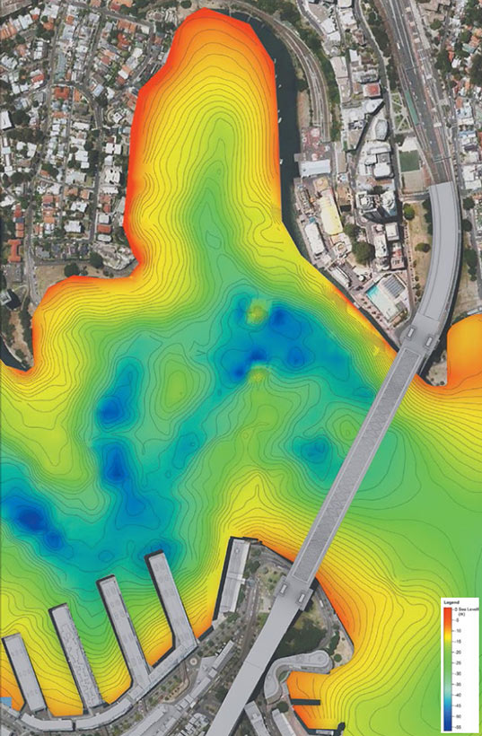 Fig 2. Rock contour map of Sydney Harbour (blue areas 55m+ below surface level)