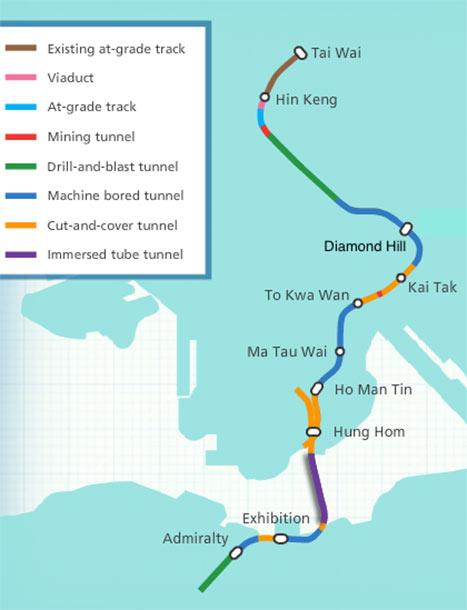 17km Shatin-Central Link, with excavation methods