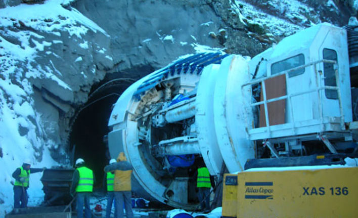 Robbins main beam TBM launch for Dariali HEP (Feb 2012)