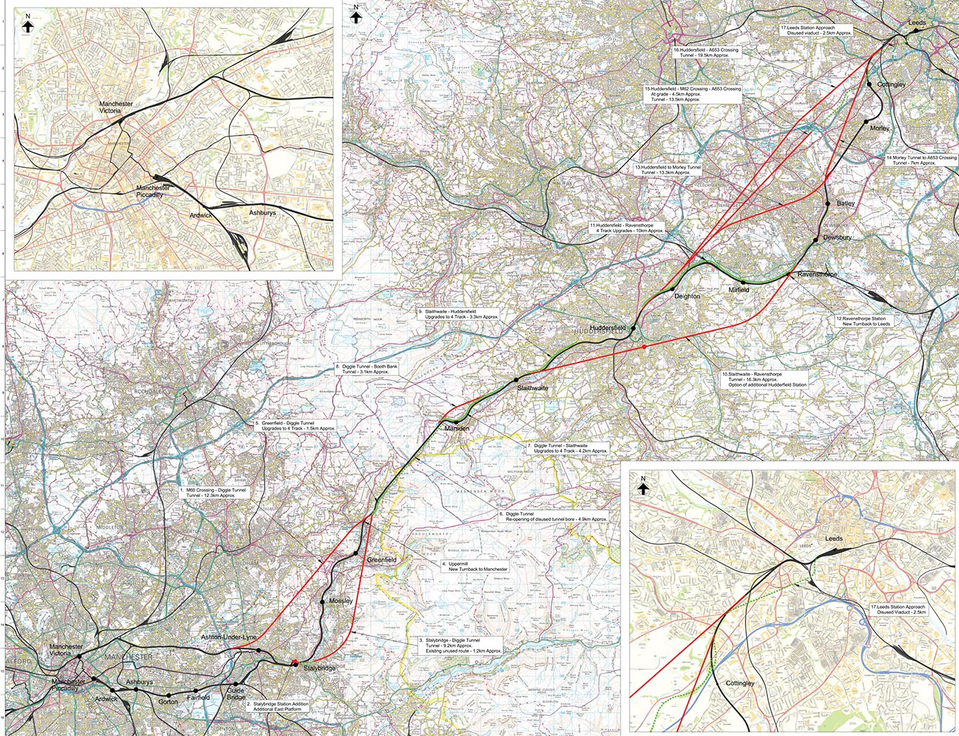 Fig 3. Arup proposals for HS3 tunnel alignments (click to enlarge)