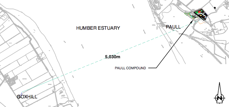 Alignment of the 5.03km Humber Estuary tunnel