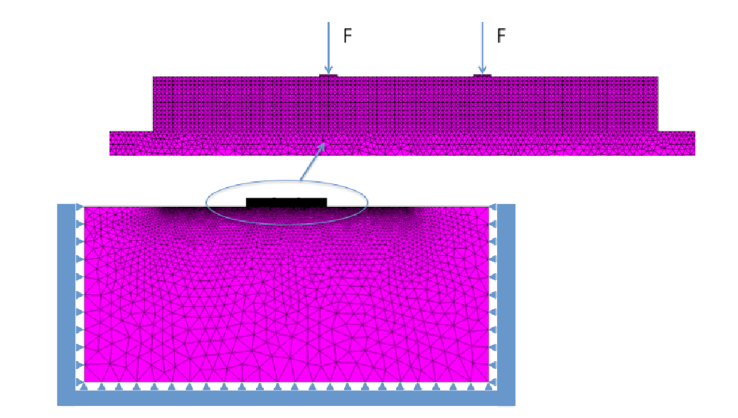 Example of numerical simulation using a finite element model for a SFRC beam on ground