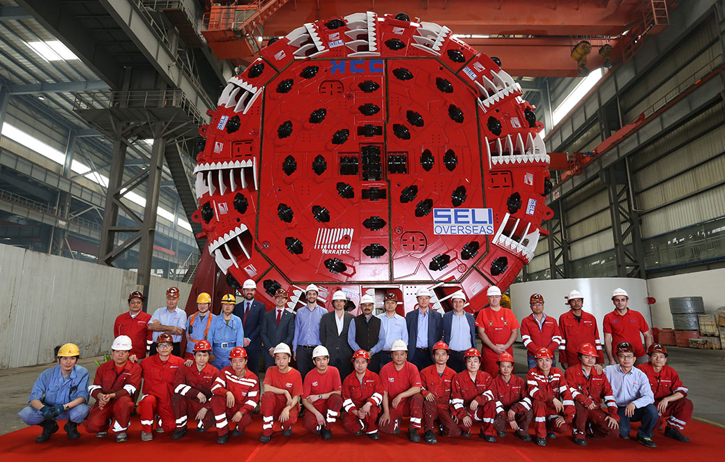 Factory acceptance ceremony of the Terratec 9.86m diameter double shield for Vishnugad-Pipalkoti hydro project