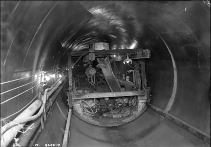 Applying concrete in the Rondout West Branch Tunnel, June 12, 1941
