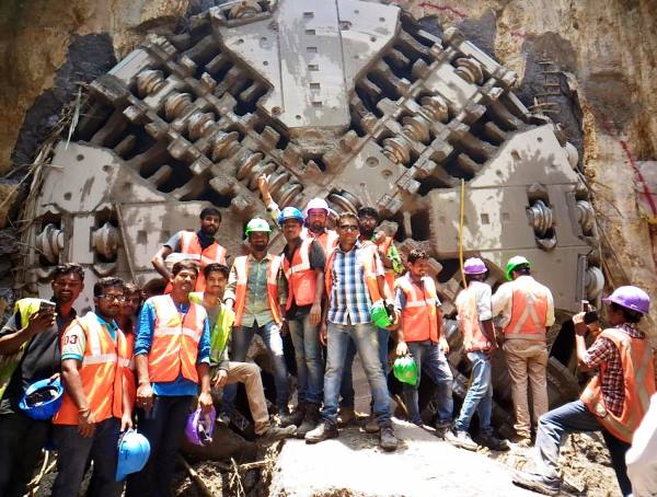 Tunnel crew celebrates breakthrough (Photo: Gopi Yalla)