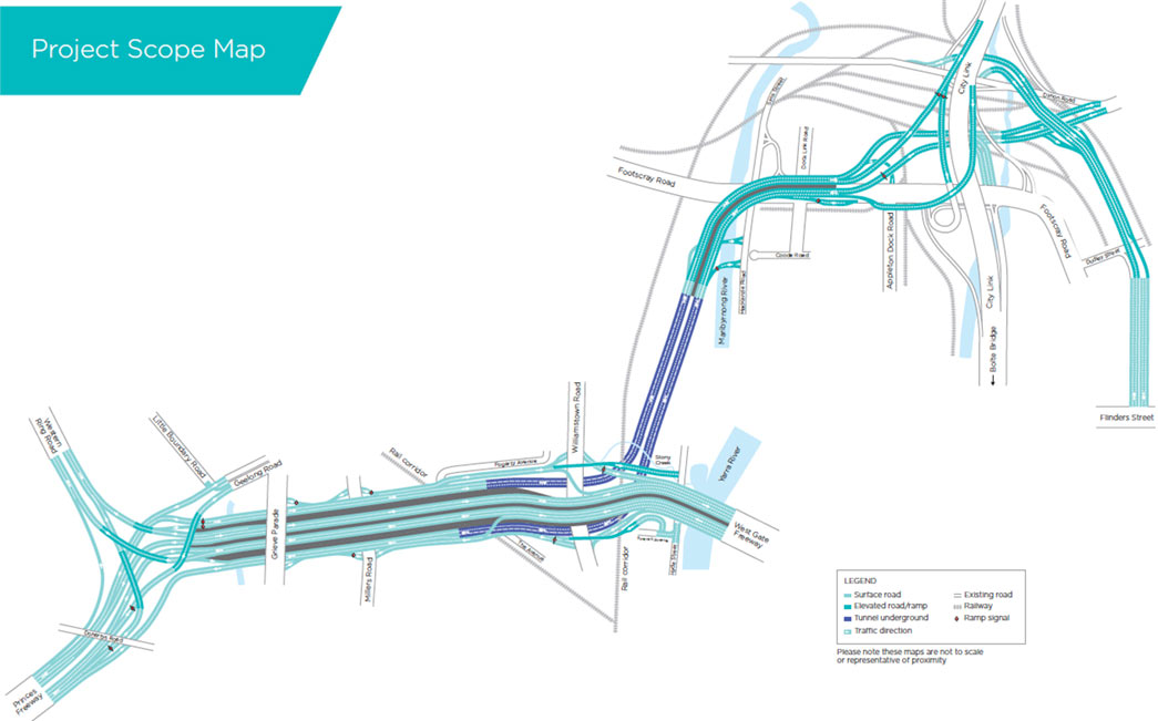 Fig 1. West Gate Tunnel Project alignment