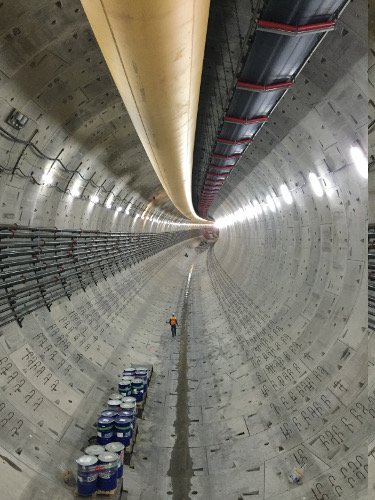 Inside the impressive SR99 tunnel, from the back of the TBM