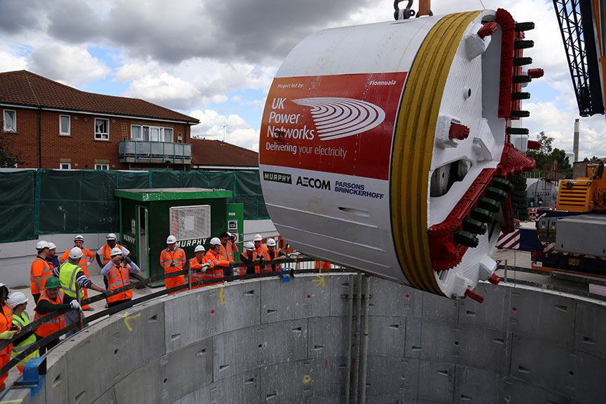 Lowering the Lovat TBM into the launch shaft (August 2014)