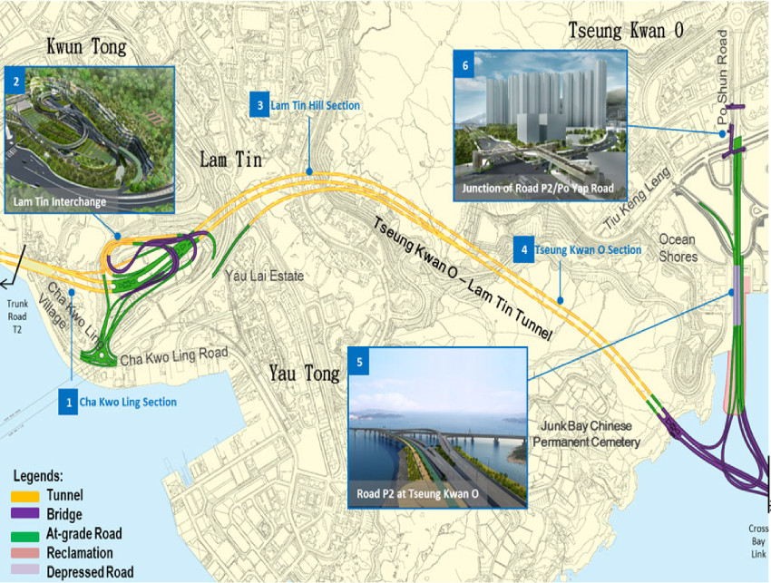 Fig 2. Wider scheme ties in with Eastern Harbour Crossing and Cross Bay Link