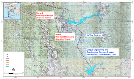 Fig 1.  Map of the full Mae Tang-Mae Ngat, Mae Ngat-Mae Kuang Water Diversion Project with the Unique Engineering and Construction contract covering the 10.5km long downstream section of the Phase 1 Mae Ngat-Mae Kuang tunnel