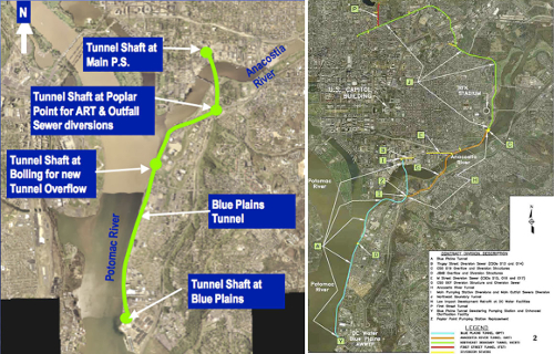 The Blue Plains Tunnel (left) is the first segment of the major DC Water Clean Rivers CSO control project along the Potomac and Anacostia Rivers