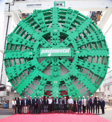 Lining is being installed by the 15.87m diameter EPBM