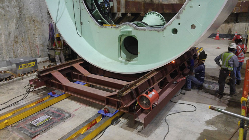 Lower shield on the Hydra-Slide assembly cradle