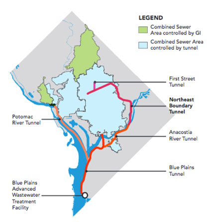 Fig 1. Scope of the DC Water CSO Clean Rivers project