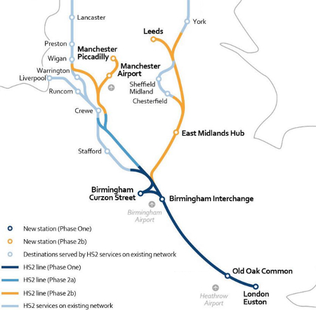 Fig 1. HS2 preferred route for Phase 2 requires a spur to connect to Sheffield and Manchester Airport